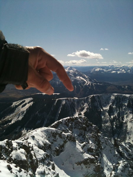 Rock Climbing Photo: Pointing to East River Lift on CB Mountain
