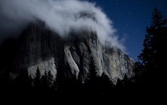 Rock Climbing Photo: El Cap at night.  Photo by Yaman Ozakin