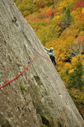 Rock Climbing Photo: Elizabeth following the somewhat spicy traverse to...