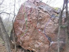 Rock Climbing Photo: Green V2+ - Snaggletooth Red V1+ - South Central B...