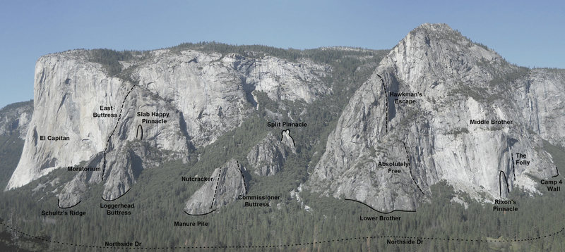 Yosemite Valley Overview - North - El Cap to Camp 4<br> <br> Route depictions are approximate.<br> <br> Areas/routes shown include:<br> <br> [[105833392]]<br> -[[105833467]]<br> <br> [[105841115]]<br> <br> [[105862901]]<br> -[[105874604]]<br> <br> [[106612472]]<br> <br> [[106788228]]<br> <br> [[105833498]]<br> -[[105833505]]<br> -[[107065849]]<br> <br> [[105876539]]<br> <br> [[105986637]]<br> -[[106451171]]<br> -Hawkman's Escape<br> <br> Middle Brother<br> -[[107409622]]<br> -[[105865211]]<br> -[[105945928]]
