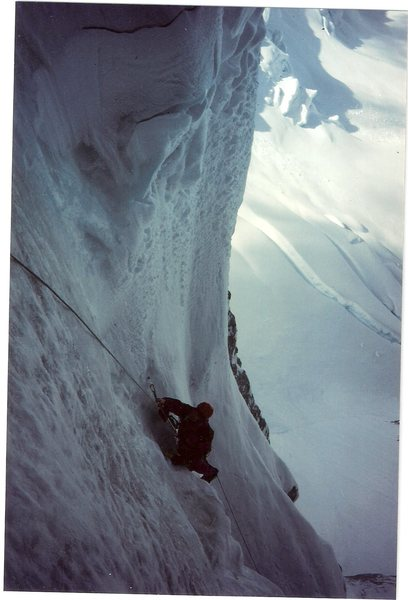 Starting the Nettle - Quirk Couloir Mt. Huntington West Face.