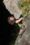 Rock Climbing Photo: lily getting off the slab and in to the business