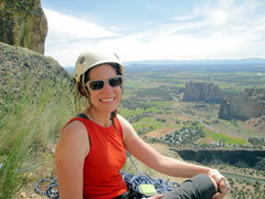 At the top of Birds in a Rut (5.7) at Smith Rock