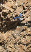 Rock Climbing Photo: Ed moves past the crux roof & gets ready for the t...