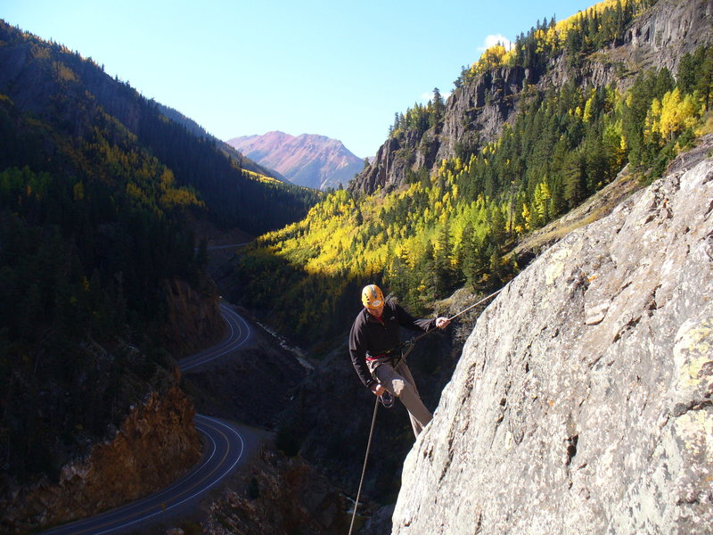 Rapping off the top of PEMA.  In the background:  the Million Dollar Highway and billion dollar fall views.