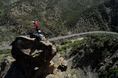 Rock Climbing Photo: Romain & Alberto perched high atop Hwy-33 and Sesp...