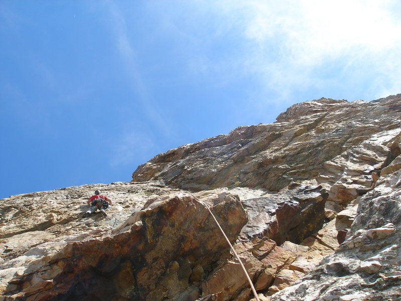 Rock Climbing Photo: Leading the 4th pitch