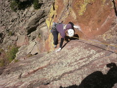 Rock Climbing Photo: Cindy making the hard move at the top of P1.