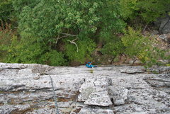 Rock Climbing Photo: Top of the crux about to start the traverse to bet...