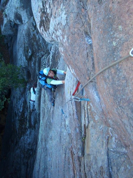 Rock Climbing Photo: Cheri Ermshar cleaning Mouse Maze 5.9. Photo by Fl...