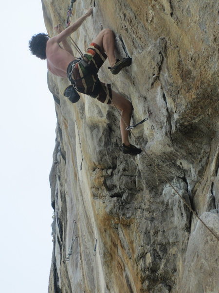Rock Climbing Photo: Manuel on upper section of Lion King