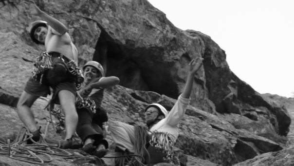 Rock Climbing Photo: hanging out at the first belay. Gabi, Jamie, and A...