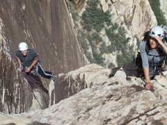 Rock Climbing Photo: May leading the short fourth class to the top of t...