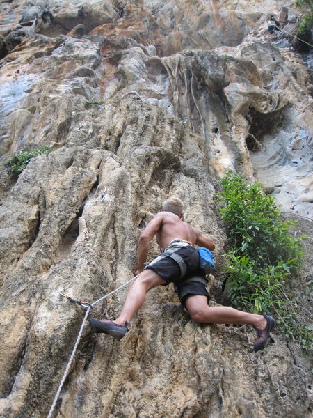 Rock Climbing Photo: Dennis from Sweden zoning out on the Boob Tube. Gr...