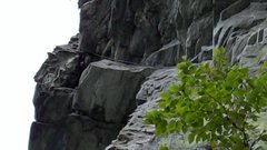 Rock Climbing Photo: View up at the traverse to the finish from the gre...