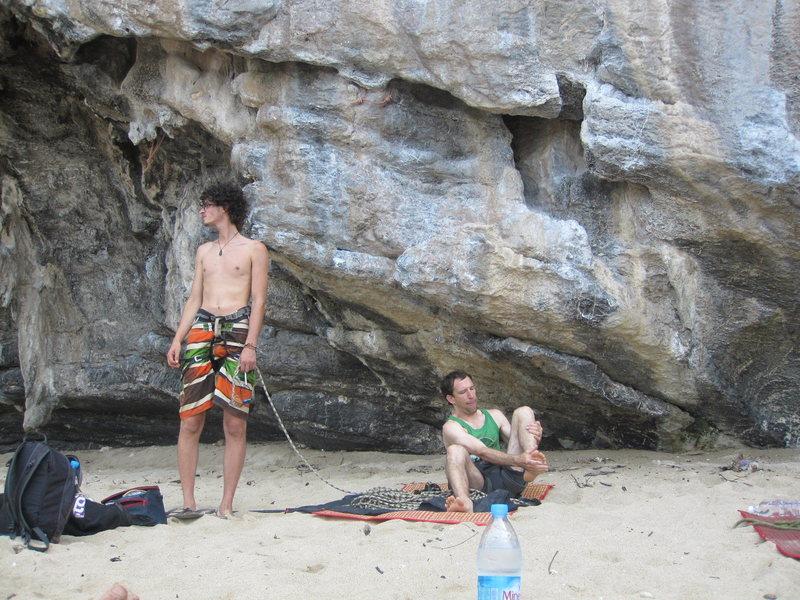 Manuel contemplates his next climb while Glen prepares for another route, Dum's Kitchen, Ton Sai beach.
