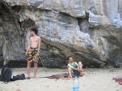 Rock Climbing Photo: Manuel contemplates his next climb while Glen prep...