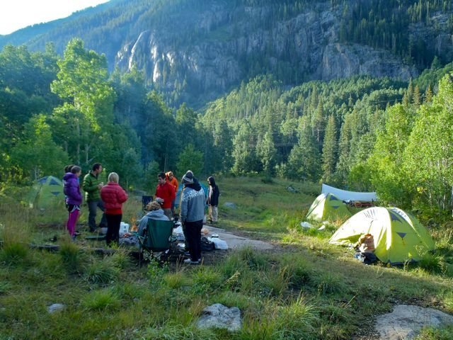 Our group camping at the base of the Ophir Wall near Telluride, Colorado