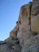Rock Climbing Photo: Marta Reece leads out on our second pitch after le...