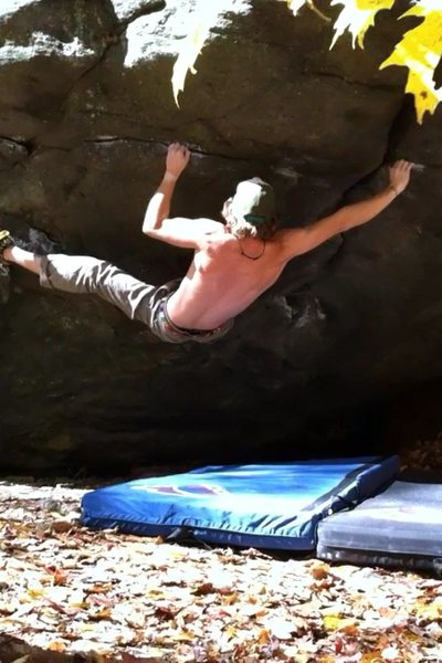 Rock Climbing Photo: big move right to a flat crimp
