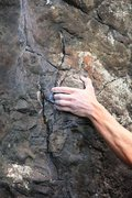 Rock Climbing Photo: One of the small sidepulls at the start of Static ...