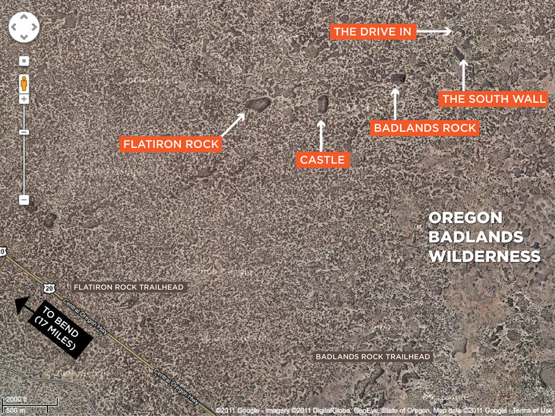 Satellite view of the Oregon Badlands Wilderness (courtesy of Google Maps).