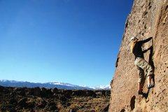 Rock Climbing Photo: Ramey feeling the exposure on A Flake As Marvelous...