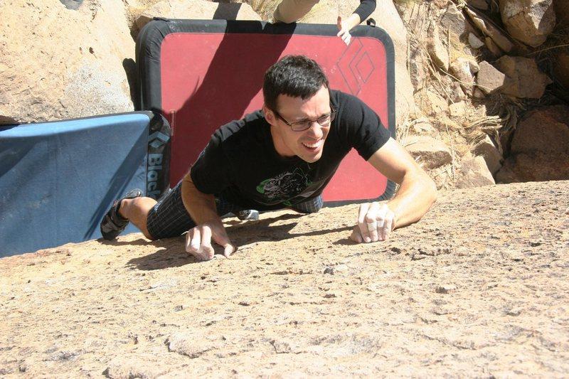 Rock Climbing Photo: Kent crimping hard on Boy, V2