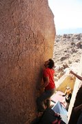 Rock Climbing Photo: Starting the balancy crux of Matilda, V3