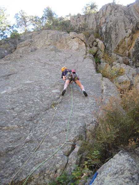 Rock Climbing Photo: Rob Davies starting P2 of Los Pinos (photo by Phil...