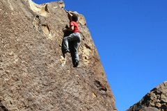 Rock Climbing Photo: Justin high on Wicca Warrior