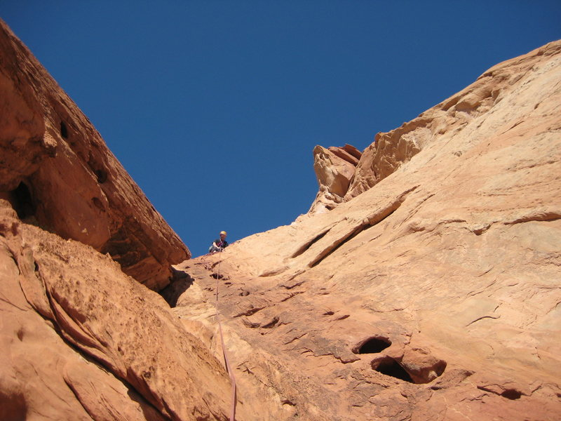 Many water-eroded pockets occur, especially on P3 & P4 (photo by Phil Ashton)