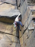 Rock Climbing Photo: Starting the crux of Bull's Crack (photo by Phil A...