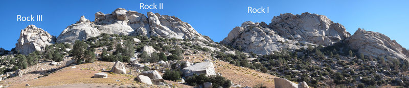 The South Face of Owens Ridge from the approach, showing Rocks I, II, and III.