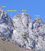 Rock Climbing Photo: The North Face of Rock II showing the descent rout...
