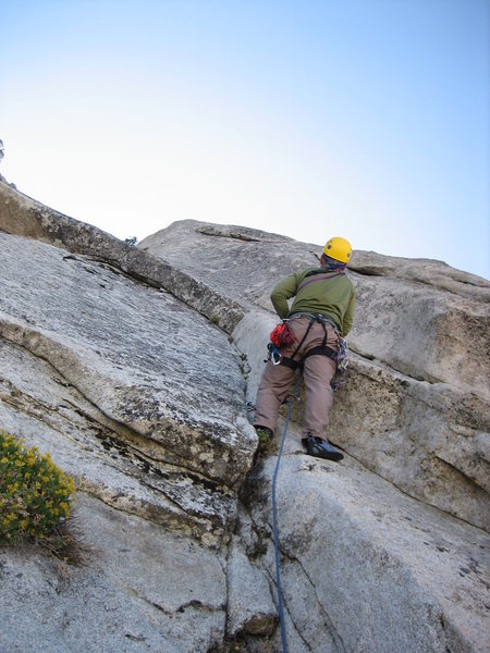 Leading up the second pitch of El Centro, on the North Face of Rock I of Owens Ridge