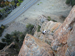 Rock Climbing Photo: Gwen on the last pitch of Outside Corner.