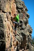 Rock Climbing Photo: The crux involves slapping a right hand up on slop...