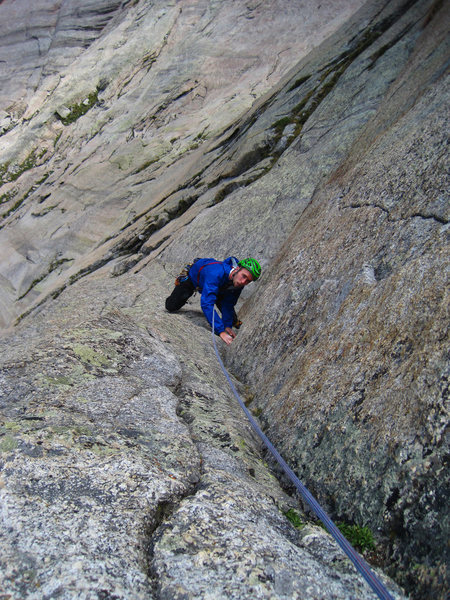 Rock Climbing Photo: Blake on the 4th pitch corner.