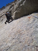 Rock Climbing Photo: Blake wrapping up the crux traverse.
