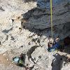 Matt Nance on the free hang repel, KVR. You said this climb was HOW steep?