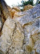 Rock Climbing Photo: A look up the route, with the crack on the left. I...