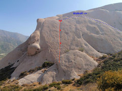 Rock Climbing Photo: Topo of the 'old route' on Mormon Rock's largest s...