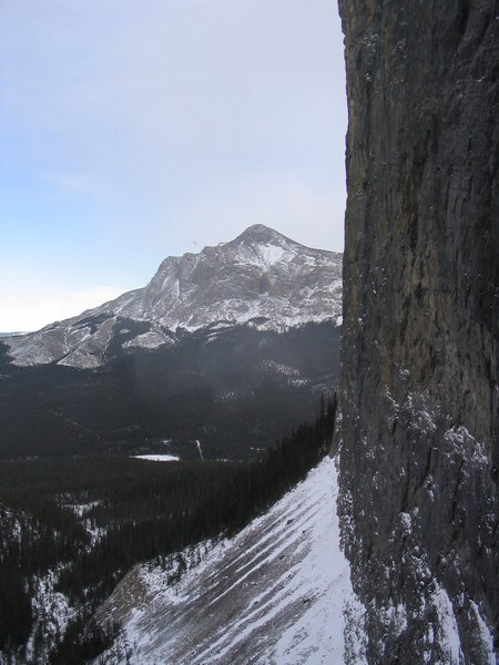 Black Rock Mountain and the second Johnson Lake, from the 3rd pitch belay.