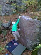 Rock Climbing Photo: John K sticking the fun dyno  Photo: Paul Campbell