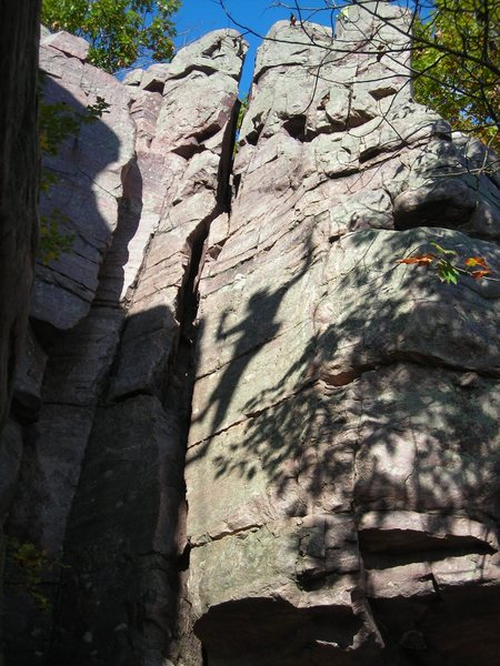 Rock Climbing Photo: Shadow play 1... West Bluff.    Photo by Eric P.