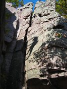 Rock Climbing Photo: Shadow Play 2....West Bluff.  Photo by Eric P.