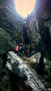 Rock Climbing Photo: Rapping down the descent gully into the Amphitheat...