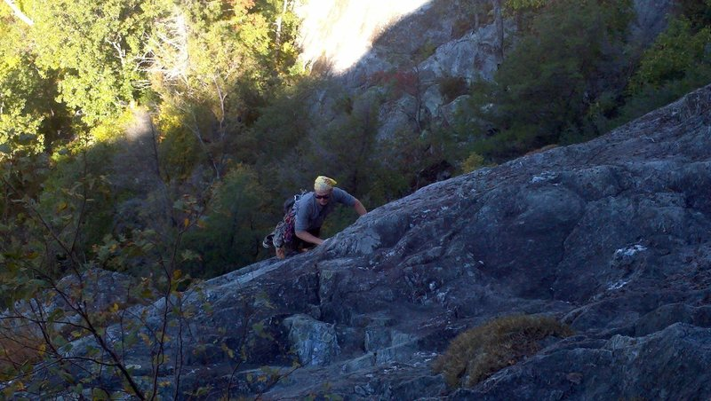 Rock Climbing Photo: Climber approaching belay station 2 on The Daddy.